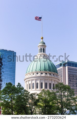 Capitol Building with american flag on top in St. Louis - stock photo