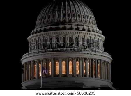 Capitol closeup at night - stock photo