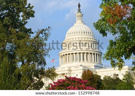 Capitol dome in autumn - Washington DC, United States - stock photo
