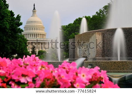 Capitol Hill and fountain - stock photo