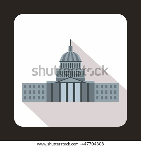 Capitol icon in flat style with long shadow. State symbol - stock photo
