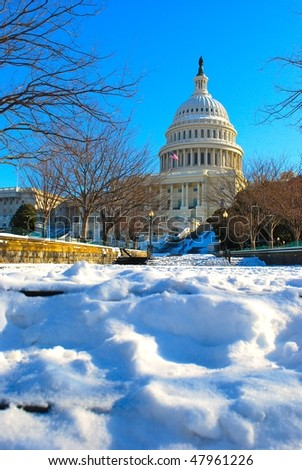 Capitol in snow - stock photo
