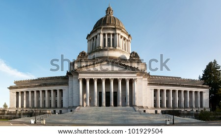 Capitol of Olympia in Washington state, panorama made with 8 photos - stock photo