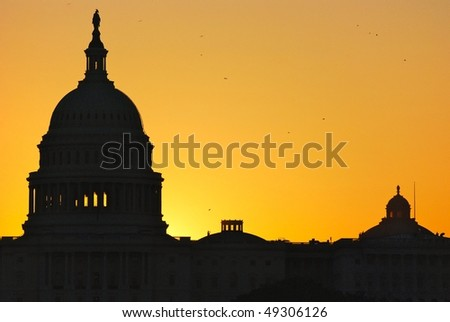 Capitol tower at sunrise - stock photo