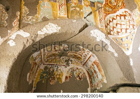 Cappadocia, Anatolia, Turkey, Early Christian fresco in cave orthodox church - stock photo
