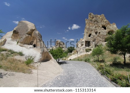 Cappadocia is a region of exceptional natural wonders in Nev���ºehir Province, Turkey - stock photo