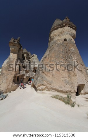 Cappadocia is a region of exceptional natural wonders in Nevsehir Province, Turkey - stock photo