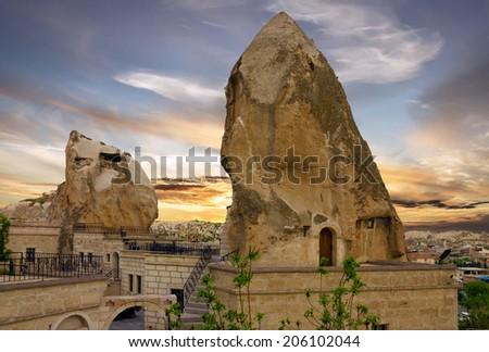 Cappadocia, Turkey - Goreme cave hotels. - stock photo