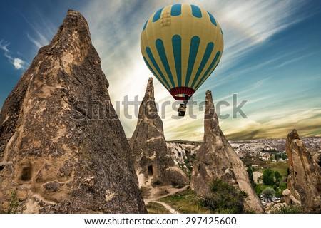 Cappadocia, Turkey, Hot air balloon  - stock photo