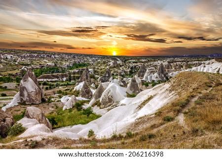 Cappadocia, Turkey. Sunset volcanic rock landscape, Goreme national park  - stock photo