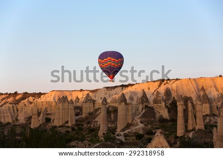 Cappadocia, Turkey.The greatest tourist attraction of Cappadocia , the flight with the balloon at sunrise - stock photo