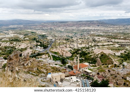 Cappadocia Uchisar Turkey. June 2016. Landscape of the old city view.