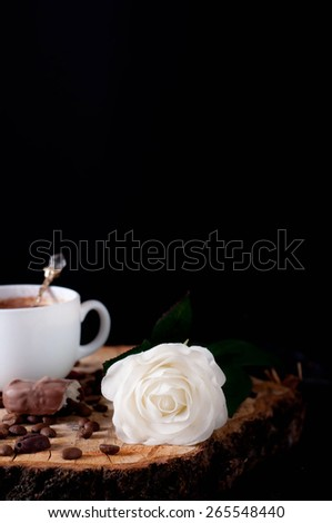 Cappuccino coffee cup and white roses , tulip - stock photo