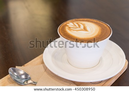 Cappuccino coffee cup ,Hot coffee - stock photo
