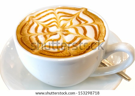 Cappuccino coffee drink with clipping path isolated on white  - stock photo