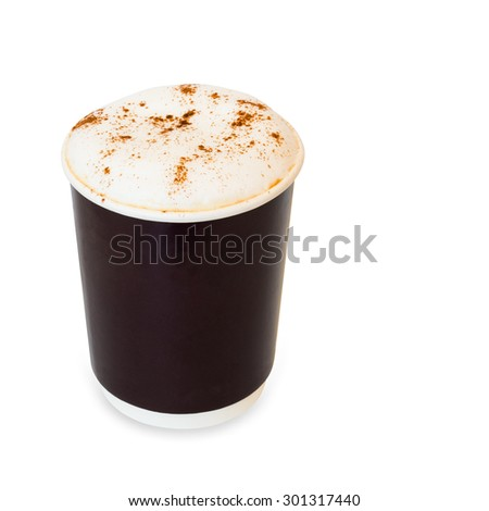 cappuccino coffee in take away paper glass isolated on white background with clipping path - stock photo