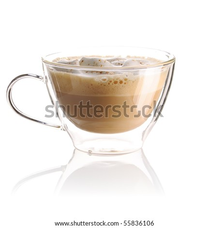 Cappuccino coffee isolated on white - stock photo