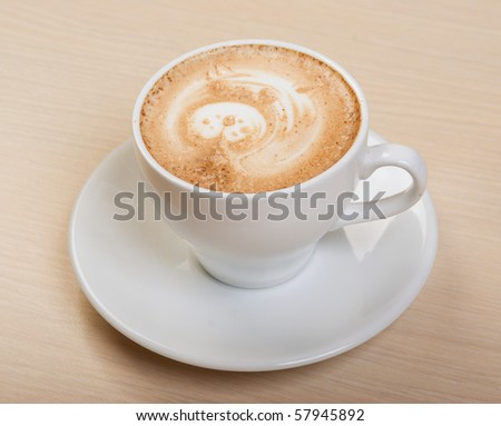 cappuccino cup.coffee   close up - stock photo