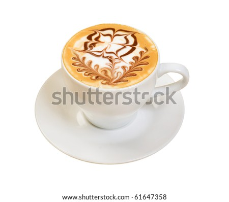 cappuccino cup.coffee . isolated on a white background. - stock photo