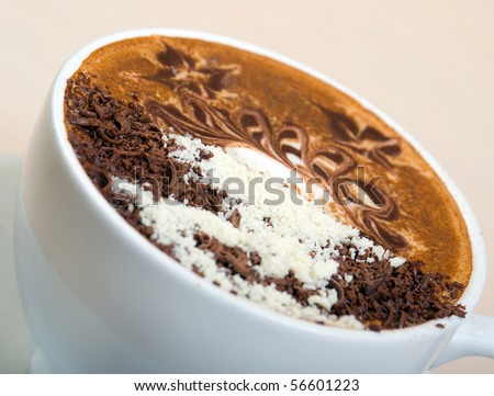 cappuccino cup.coffee   Shallow depth-of-field - stock photo