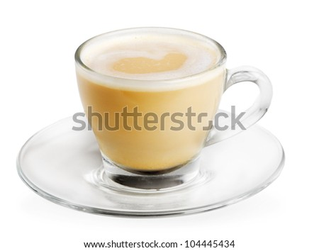 cappuccino cup isolated on white - stock photo