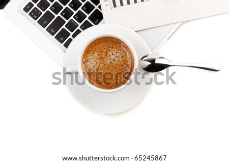 Cappuccino cup on laptop. Above view. Isolated on white background - stock photo