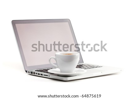 Cappuccino cup on laptop. Isolated on white background - stock photo