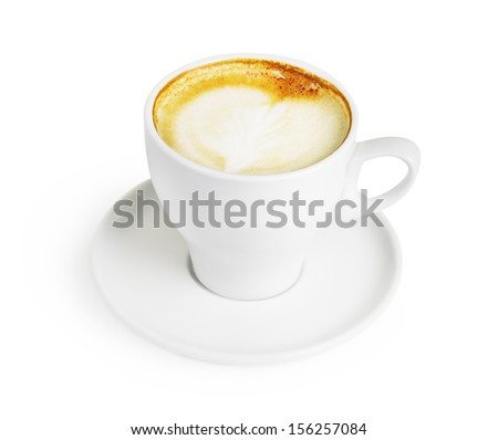 Cappuccino cup with heart shape foam