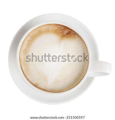 Cappuccino cup with saucer isolated on white with clipping path. Top view