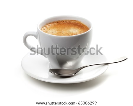 Cappuccino cup with silver spoon. Isolated on white background
