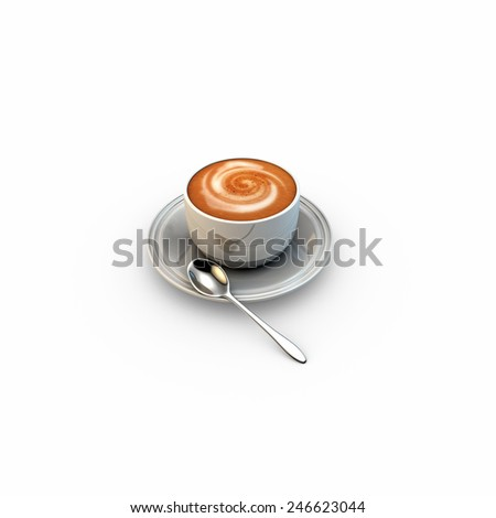 cappuccino isolated on white background - stock photo