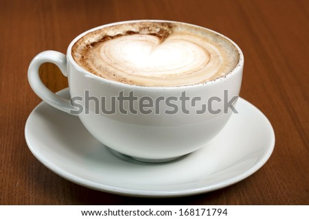 cappuccino on the table in a white cup
