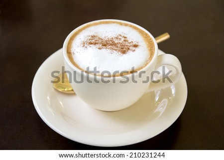 Cappuccino or latte coffee