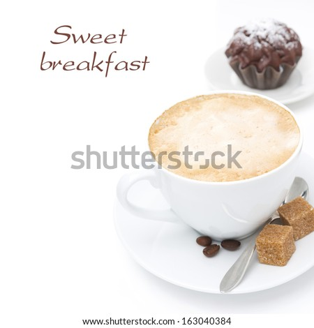 cappuccino with brown sugar and chocolate cake, isolated on white - stock photo