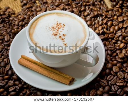 cappuccino with cinnamon stick  and coffee beans