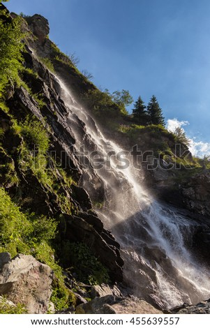Capra waterfall near Transfagarasan road. Carpathian mountain. Romania