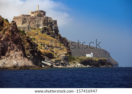Capraia island castle and lighthouse, Elba, Tuscany, Italy, Europe