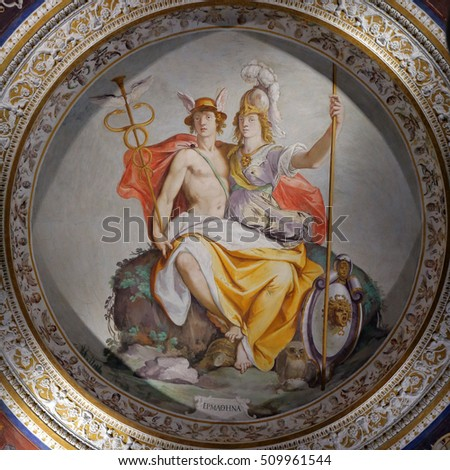 CAPRAROLA, ITALY - OCTOBER 16, 2016: Room of Hermathena rapresents a figure combining  Mercury and Minerva by Federico Zuccari