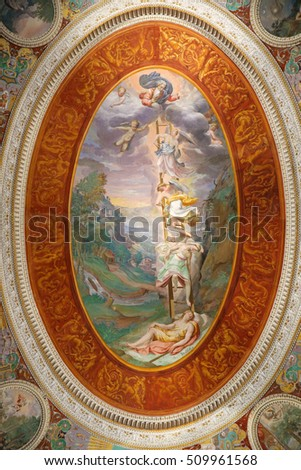 CAPRAROLA, ITALY - OCTOBER 16, 2016: Villa Farnese - Room of dreams At the center of the vault shows the prophetic dream of Jacob, the work is of Bertoja