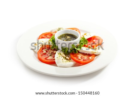Caprese Salad - Salad with Tomatoes, Mozzarella Cheese - stock photo