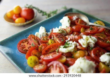 Caprese salad with fresh thyme on a blue plate.  - stock photo