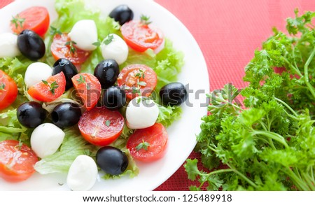 Caprese salad with tomato, olives and mozzarella, close up