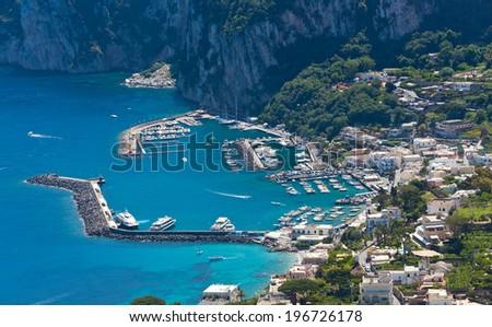 Capri island, Campania, Italy. Capri is an island in the Tyrrhenian Sea near Naples. - stock photo