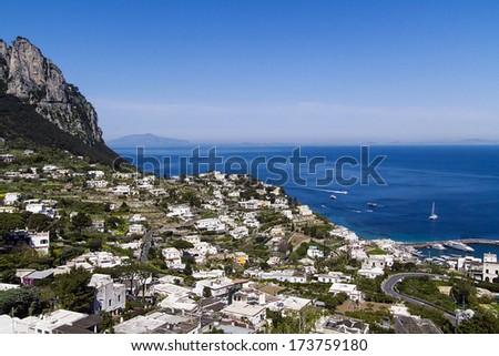 Capri island panorama - Italy - stock photo
