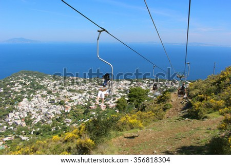 CAPRI, ITALY,JUNE 27, 2015: View from the chair lift up to Mount Solaro overlooking Anacapri on Capri Island and the Bay of Naples, Italy - stock photo