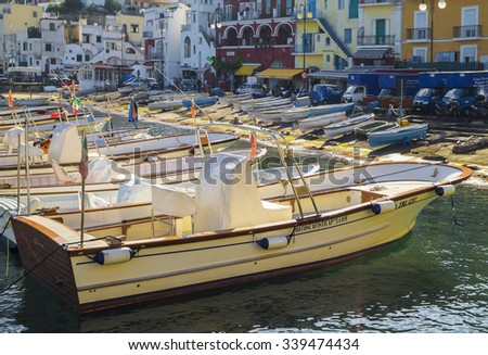 CAPRI, ITALY - NOVEMBER 8, 2015. Marina Grande on the island of Capri. Boats on the shore of the Mediterranean coast of the famous  island.