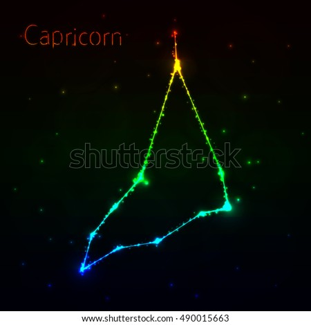 Capricorn Illustration Icon, Lights Silhouette on Dark Background. Glowing Lines and Points