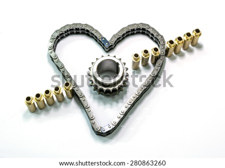 caps, chain and gear motor - stock photo