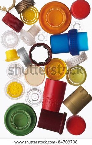 Caps of the bottle isolated on white background - stock photo
