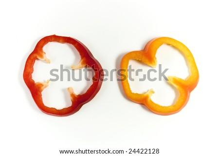 Capsicum pepper slices - stock photo